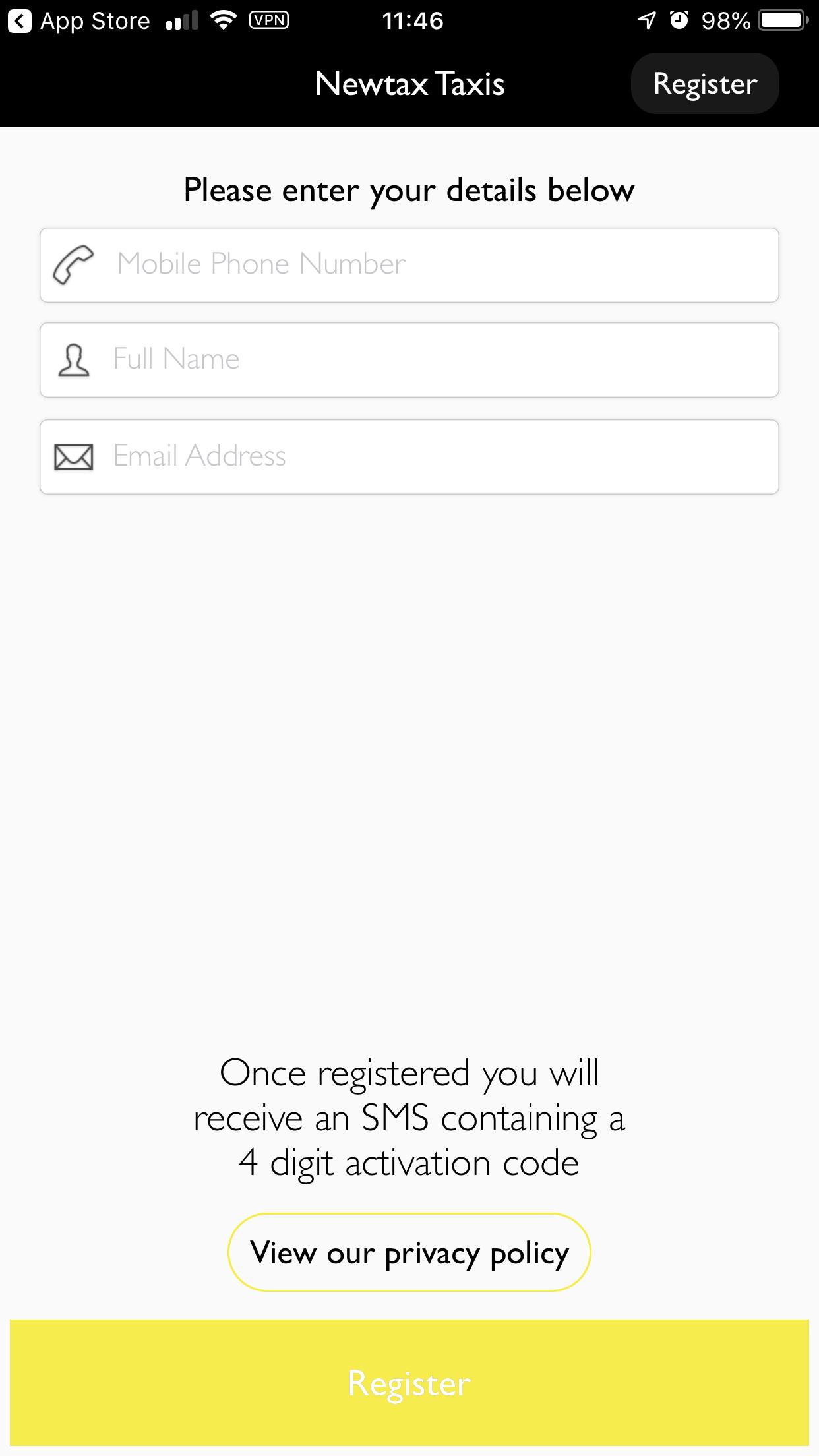 Newtax Taxi App Enter details