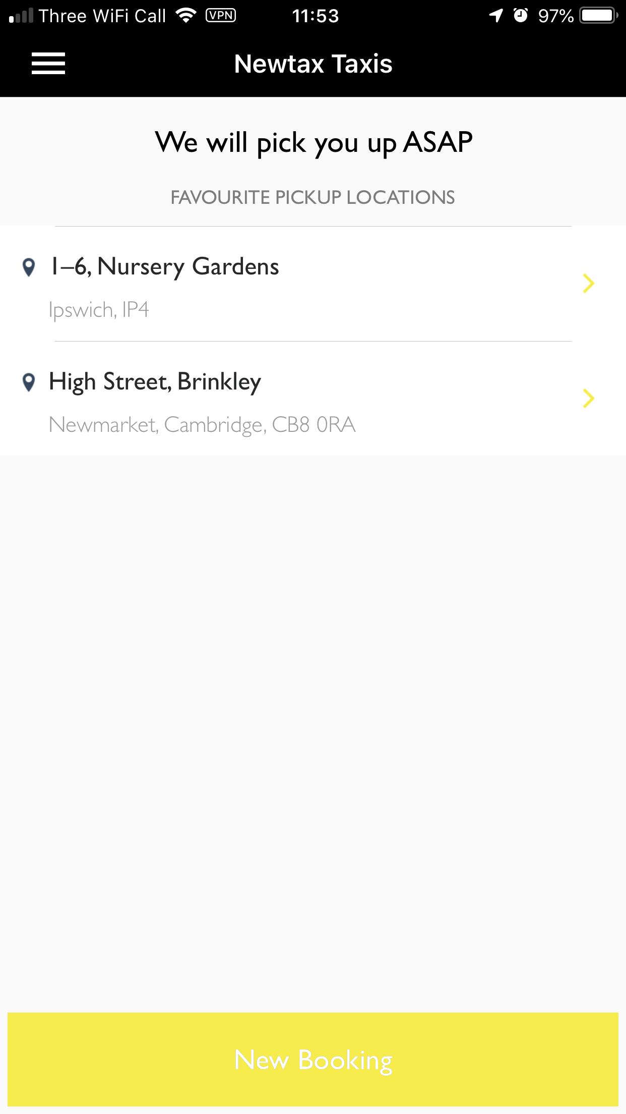 Newtax Taxi App fair list