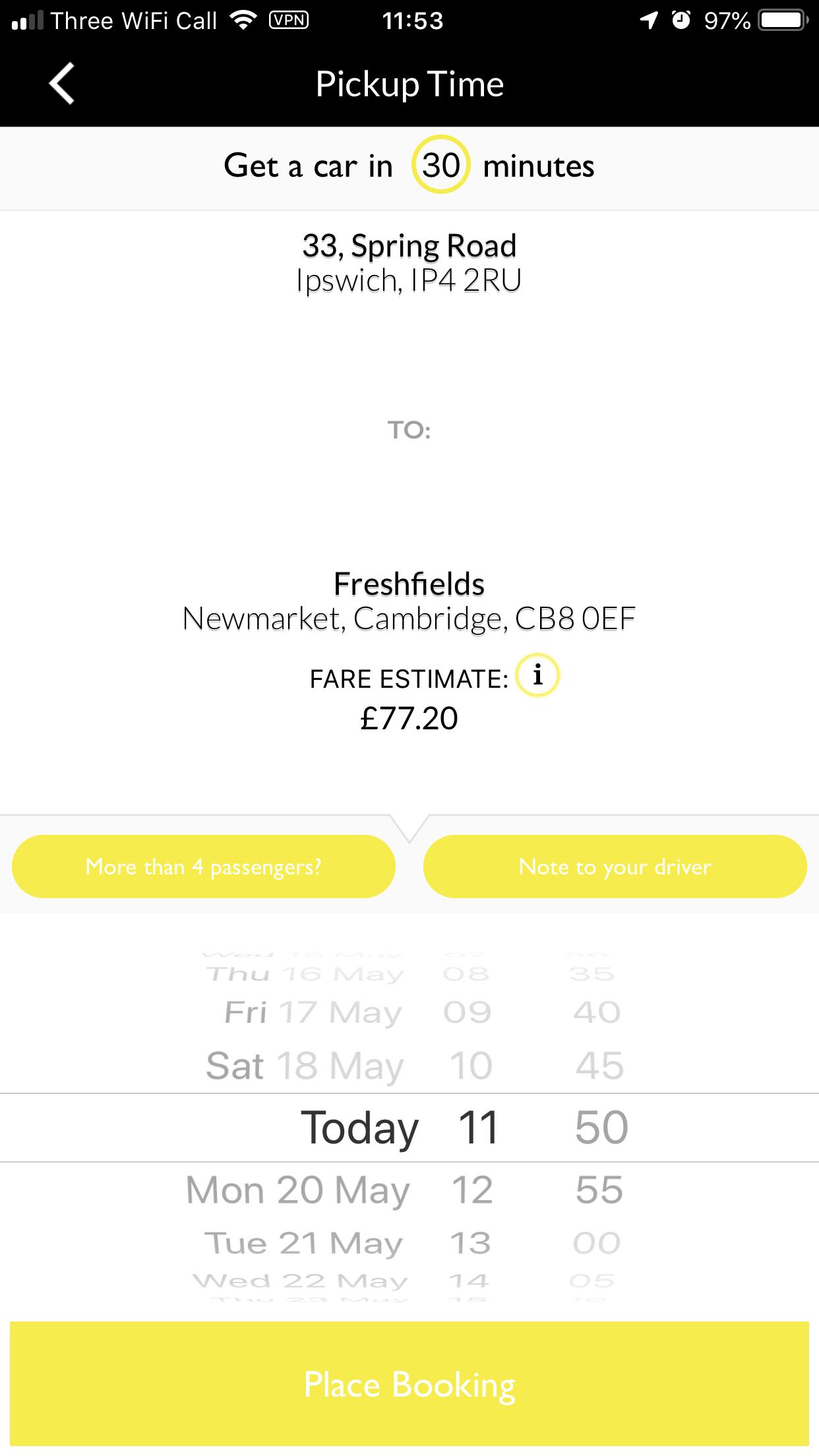 Newtax Taxi App pick up times